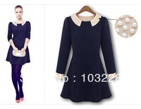 Free  shipping Doll collar Pearl inlaid long sleeve   Ms. dress Wholesale -#43