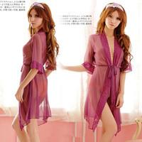 Free Shipping Women Sexy Purple Gauze Long Robes Kimono Sleeping dress Nightgowns Baby Dolls Apparel See Through Sleepwear 0606