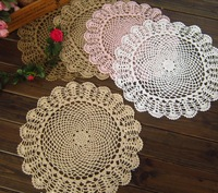Free Shipping  Promotion Round 15 inch Vintage Hand made crochet  doilies ,diameter : 38cm , 20 pcs / lot