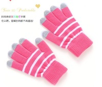 Final clear out striped winter warm magic touch screen gloves mittens for Pipo for Smartphone tablet  for Iphone   Free Ship