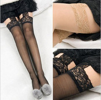 Free delivery sexy blue-trimmed garter wide bud silk stockings not segregated black silk stockings