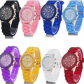 Free shipping Wholesale 10 colors Silicone Watch GENEVA Fashion Sports quartz wrist Watch men women students wristwatches #02