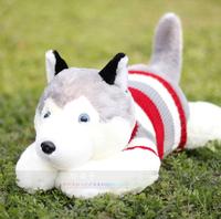 Sweater husky dog Large doll pillow plush toy birthday gift