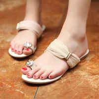 Chiffon patchwork bandage toe-covering flat sandals big rhinestone crystal diamond gem super soft slippers