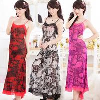 Free Shipping Women Long chiffon Sleeping Dress Nightwear Nightgown Baby Dolls Exotic Apparel Ladies Sleepwear 394