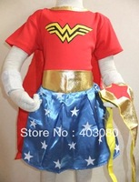 Halloween/Christmas Party 3-7 years  girls cosplay Wonder woman  sculpt skirt&kid Wonder woman Role-playing shawls& fiara&sleeve