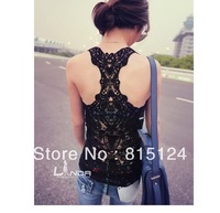 Hot Sale!!!Fashion Lady's T-shirt sexy racer Camisole hollow out lace vest cotton tank Tops free shipping