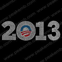 30pcs/Lot Free Shipping Iron On 2013 Obama Rhinestone Transfers Free Custom Design Service