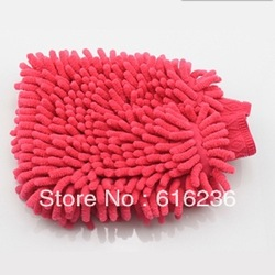 Free shipping/Fast car washing/household cleaning gloves wash mitt color random-pink(China (Mainland))