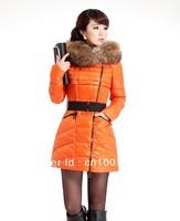 Wholesale lady's down jacket,big racoon fur collar with winter cap female coats,women's skinny Korean warm coat,free shipping