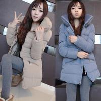 Women's Korean Style Winter Fur Collar Hooded woolen Long Sleeve Casual down Outwear Coat jacket trench free shipping