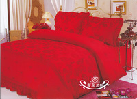 Red single duvet cover satin 100% cotton embroidered rose 100% cotton bedding
