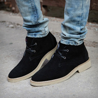 Winter genuine leather suede boots plus velvet boots high-top shoes male the trend of casual shoes elevator shoes