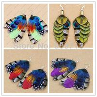 free shipping 3pcs/lot,Peacock Feather ear pendants,silver fashion  handmade pendants,fashion Dangle Earrings decoration