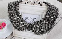 Fashion black rhinestone  beaded  peter pan collar  necklace fake collar  choker collar  necklace women 's clothing accessories