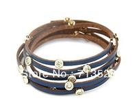 Korean fashion lady all-match  multilayer thin leather bracelet