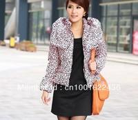 Wholesale women's short down jacket ,Hot seling!!!lady's Leopard choker warm coats,winter female slim coat,free shipping