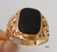 Brand men's ring. Size 8-11. Black Onyx  18k GP( Yellow ) ( White ) Rose Gold Men's Ring ;  Free Shipping.Can mix build.