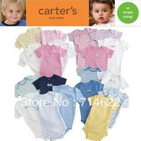 Free shipping New Hot selling Original baby romper boy&girl's short sleeve romper 100% cotton 5pcs in pack