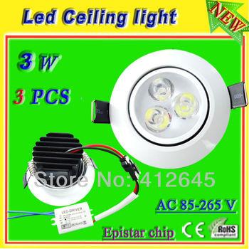 led ceiling lamp white light_free shipping 3w led recessed spot light 300 lumen_white aluminum lamp warm/ pure/cool white