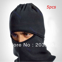 Free Shipping! 5pcs/lot Black Thermal Fleece Balaclava Hat Snood Hood Police Swat Ski Cycling Face Mask