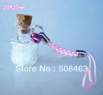 Free shipping!! 30pcs/lot charm box Luminous sand Mini glass bottle Perfume essential oil vial pendant phone strap key chain
