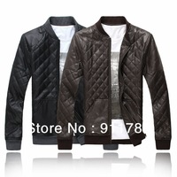 New fashion stand-up collar men's Imitation leather jackets,  men's casual slim leather jackets,freeshipping ,black,M-XXXXXL