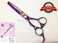 2013 Newest pink titanium coated design thinning scissors Best left handles hair cutting scissors Professional hair scissors