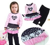 free shipping!Hottest vitamin pure 100% cotton female child baby child set 2012 autumn