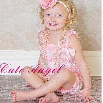 Cute angel female child tube top jumpsuit one piece romper lace romper pink romper-S-M-L