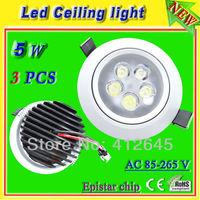 high brightness 5w high power white led_free shipping led recessed ceiling spot led light_white aluminum shell AC85-265v lamp