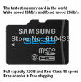 Wholesale Real Class 10 full capacity 32GB micro sd card speed write 16MB/s and read 20MB/s, Free adapter + Free shipping