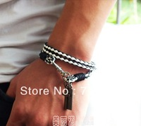 Free shipping New Fashion PU Leather Rope Bracelet,Cross,Tag,Long,Young men,Punk,Bracelets wholesale & ratail Hip Hop Bracelet
