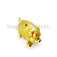 5pcs/lot Lucky Pig Refillable Butane Cigarette Lighter With Keychain Golden