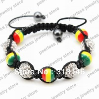 Free Shipping Wholesale 10pcs Rasta Shamballa Friendship Bracelets Macrame Braided Jamaica Flag Wristband CZ Crystal Bead