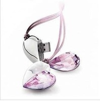 Crystal Heart 100% Real  4GB 8GB 16GB 32GB USB 2.0 Memory Stick Flash Drive IS00072