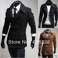 2012 Dropshipping men Single-breasted one chest double cover design man fashion woollen coat