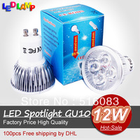 DHL Free Promotion High Brightly CREE GU10 E27 12W 4*3W 85V-265V Led Light Lamp Led Spotlight Dwonlight bulb 100pcs