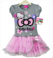 Retail girl hello kitty cute dress kids tutu dresses for girl high quality