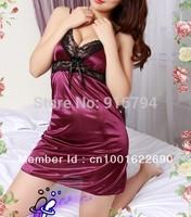 Free shipping! Wholesale,Satin + Lace ,Sexy Women's underwear Lingerie sleepwear dress +G string  LG0003