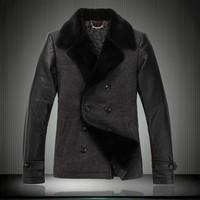 Male rex rabbit hair overcoat 2012   sheepskin patchwork wool  overcoat. leather coat