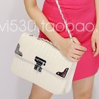 Women's handbag box square bag crocodile pattern women's handbag chain women's handbag vintage shoulder bag messenger bag