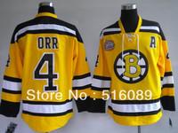 Wholesale!Free shipping!Cheap Boston Bruins 4 Bobby Orr Yellow jersey men's ice hockey jerseys