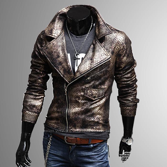 2014 мода пуховик крокодиловой кожи мужской тонкий большой нагрудные с коротким дизайн кожаная одежда кожаная куртка...