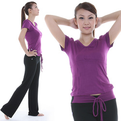 Yoga clothes set spring and summer 1298t crystal fitness top black trousers(China (Mainland))