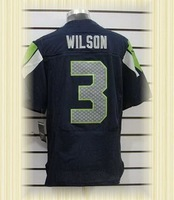 Arrived New Seattle Football Jerseys 3 Russell Wilson SeaBlue white Elite Jerseys