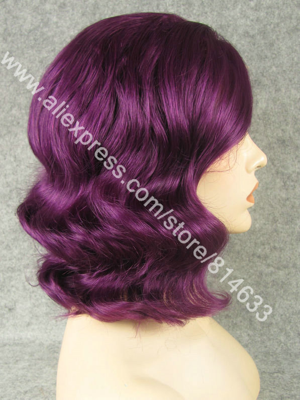 Free Shipping Wavy Medium Long Purlpe Party Lace Wig High Quality Heavy Density Fashion Natural Women&#39;s Carnival Lace Wig S20(China (Mainland))