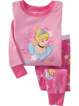 6 sets lot girl's cotton princess pajamas set children fashion sleepwear garments free shipping