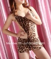 Free shipping! New Sexy Leopard Backless Lingerie Dress+G string Set S8416 Sleepwear,Underwear ,Uniform ,Kimono Costume   LG0001
