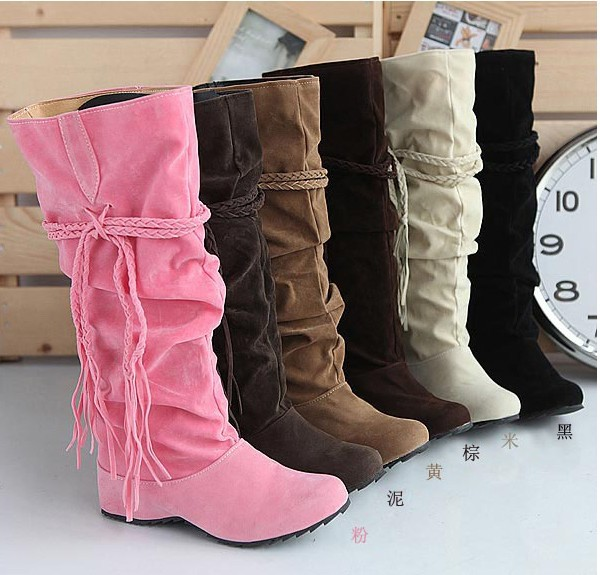 Free shipping Winter Thicken wedged Tassel Snow warm winter Boots Shoes For Women Black Coffee yellow Beige Brown Pink color(China (Mainland))